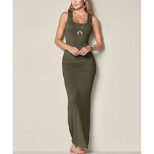 Venus Olive Racerback Bodycon Maxi Dress XS